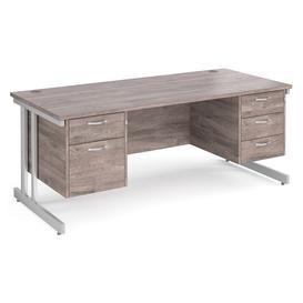 image-All Grey Oak Double C-Leg Executive Desk 2+3 Drawers , 180wx80dx73h (cm)