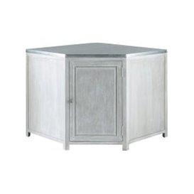 image-Grey Acacia Wood Kitchen Base Corner Cabinet W99 Zinc