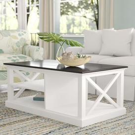 image-Jefferey Coffee Table with Magazine Rack Brambly Cottage Top Finish: Black