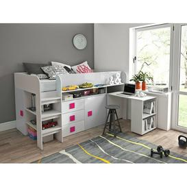 image-Ewing European Single Mid Sleeper Bed with Furniture Set Isabelle & Max Bed Frame Colour: White/Pink
