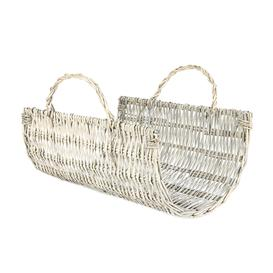 image-Small Grey Willow Log Holder Basket Grey