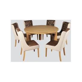 image-Treviso Oak Round Dining Table and 6 Olivia Chairs