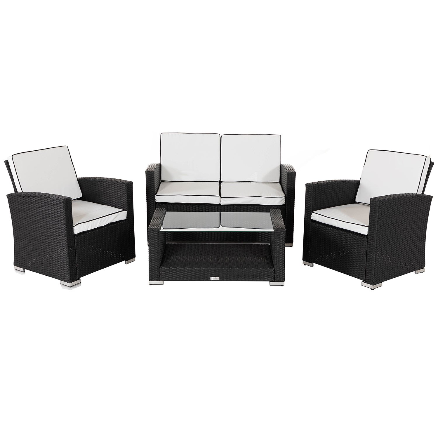image-Marbella Rattan Garden Sofa Set in Black and Vanilla