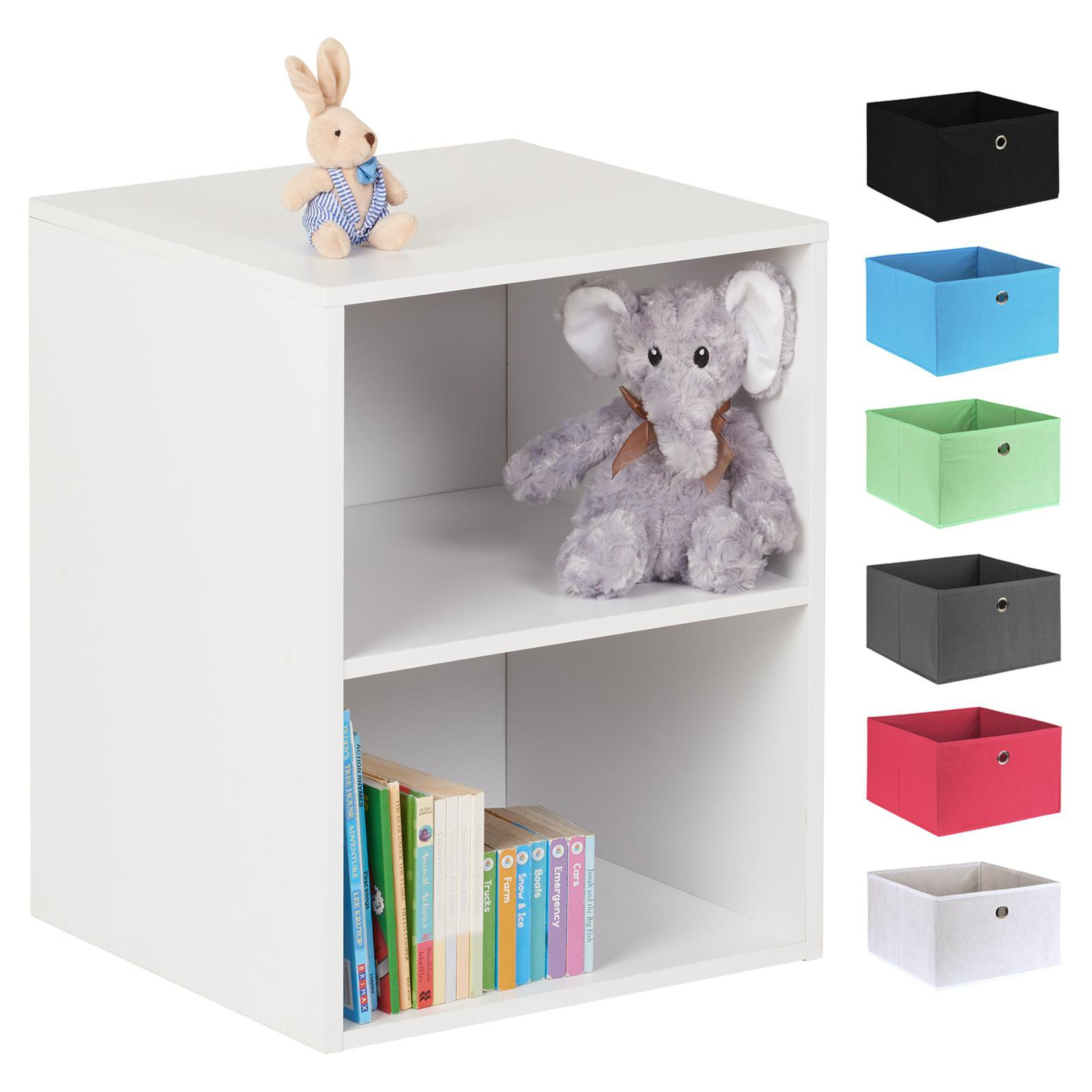 image-Hartleys White 2 Cube Kids Storage Unit