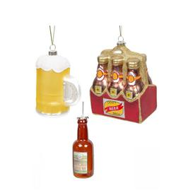 image-Set of 3 Glass Hanging Beer Decorations