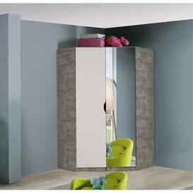 image-Alvara 2 Door Corner Wardrobe Rauch Finish: Alpine white / Stone grey