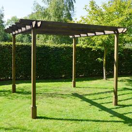 image-Randi Manufactured Wood Pergola Sol 72 Outdoor Finish: Rustic Brown, Size: 270cm H x 360cm W x 360cm D