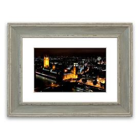 image-'London Ariel View Night Lights' Framed Photograph East Urban Home Size: 93 cm H x 126 cm W, Frame Options: Blue