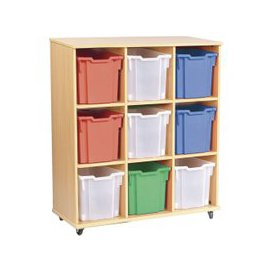 image-Triple Bay Mobile Storage Unit With 9 Jumbo Trays, Beech/Sunshine Yellow, Free Standard Delivery