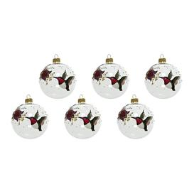 image-A by AMARA Christmas - Robin & Flower Bauble - Set of 6