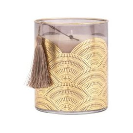 image-Scented Candle in Tinted Glass Holder with Golden Motifs