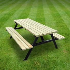 image-Pollak Picnic Table Sol 72 Outdoor Finish: Light Green, Table Size: 180cm L x 140cm W