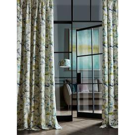 image-Voyage Naura Pair Lined Pencil Pleat Curtains, Lemon