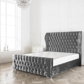 image-Jocelyn Upholstered Bed Frame Willa Arlo Interiors Colour: Silver Plush, Size: Super King (6'), Button Types: Fabric