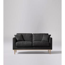 image-Swoon Norfolk Two-Seater Sofa in Slate Smart Leather With Light Feet