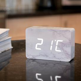 image-Modern Digital Birch Solid Wood Electric Alarm Tabletop Clock Symple Stuff Finish: Marble/White