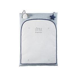 image-Ecru, White and Blue Cotton Changing Mat