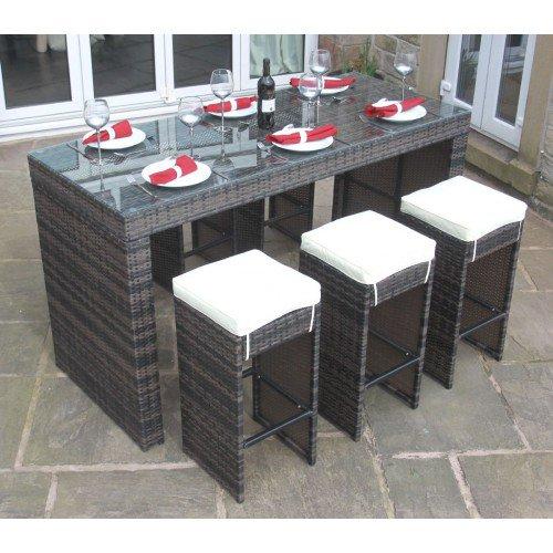 image-Rattan Outdoor Garden Furniture 6 Seat Bar Set in Mixed