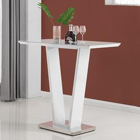 image-Ilko High Gloss Bar Table In White With Stainless Steel Base