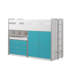 image-Briggs High Sleeper Bed with Drawers and Desk Isabelle & Max Colour (Bed Frame): Turquoise