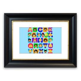 image-'Alphabet Children' Framed Graphic Art in Baby Blue East Urban Home Size: 30 cm H x 40 cm W, Frame Options: Black