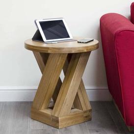 image-Z Solid Oak Furniture 4 Leg Lamp Table