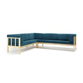 image-Corner sofa 3x3 KIM, Medley fabric, ocean blue