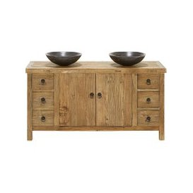 image-Blu Stone and Recycled Elm Double Sink Bathroom Vanity Lotus
