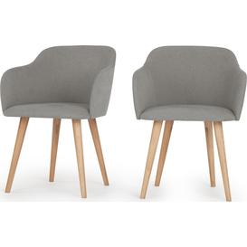 image-Set of 2 Stig Low Back Dining Chairs, Manhattan Grey and Oak