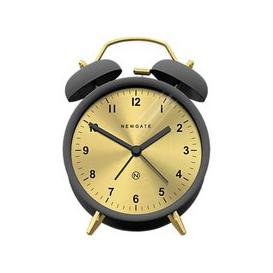 image-Newgate Clocks Charlie Bell Analogue Silent Sweep Alarm Clock, Grey/Brass