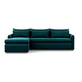 image-Heal's Pillow Large Left Hand Corner Chaise Smart Velvet Teal Natural Feet