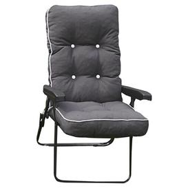 image-Leni Lounge Chair Dakota Fields Frame Finish: Grey, Cushion Colour: Charcoal