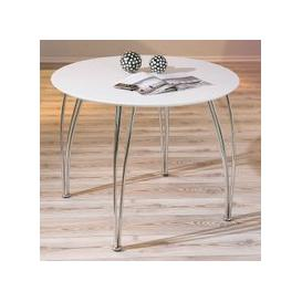 image-Cellini Dining Table Round In White Gloss With Chrome Legs