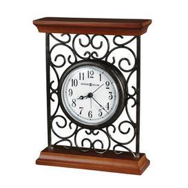 image-Mildred Traditional Analog Metal Quartz Alarm Tabletop Clock in Grey Howard Miller