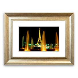 image-'Paris Eiffel Tower Water Fountain Glow' Framed Photograph East Urban Home Size: 50 cm H x 70 cm W, Frame Options: Silver