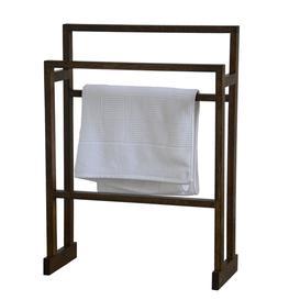image-Wireworks Free Standing Towel Rail Dark Oak Medium