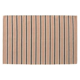 image-Raya Pink And Navy Blue Cotton Stripe Flatweave Rug 120 X 180Cm, Pink And Navy