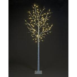 image-8ft White Birch Artificial Christmas Tree with Coloured Lights Hazelwood Home
