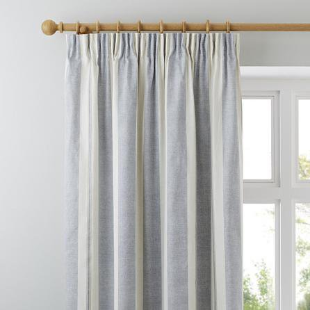 image-Padstow Blue Pencil Pleat Curtains Blue