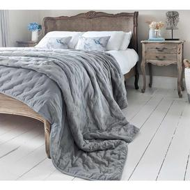image-Peachskin Quilted Bedspread in French Grey - Luxury Soft Quilted...
