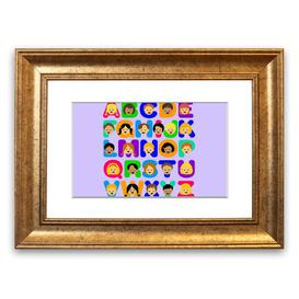 image-'Alphabet Children' Framed Graphic Art in Lilac East Urban Home Size: 50 cm H x 70 cm W, Frame Options: Gold