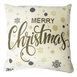image-43x43cm Merry Christmas Text Tapestry Cushion