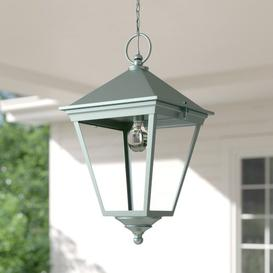 image-Hugh 1 Light Outdoor Hanging Lantern Ophelia & Co. Finish: Verdigris, Size: Grande