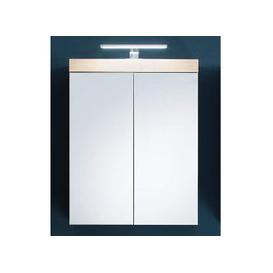 image-Amanda LED Mirrored Bathroom Cabinet In Silver Frame