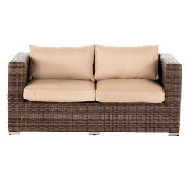 image-2 Seat Rattan Garden Sofa in Truffle Brown &amp Champagne - Ascot - Rattan Direct