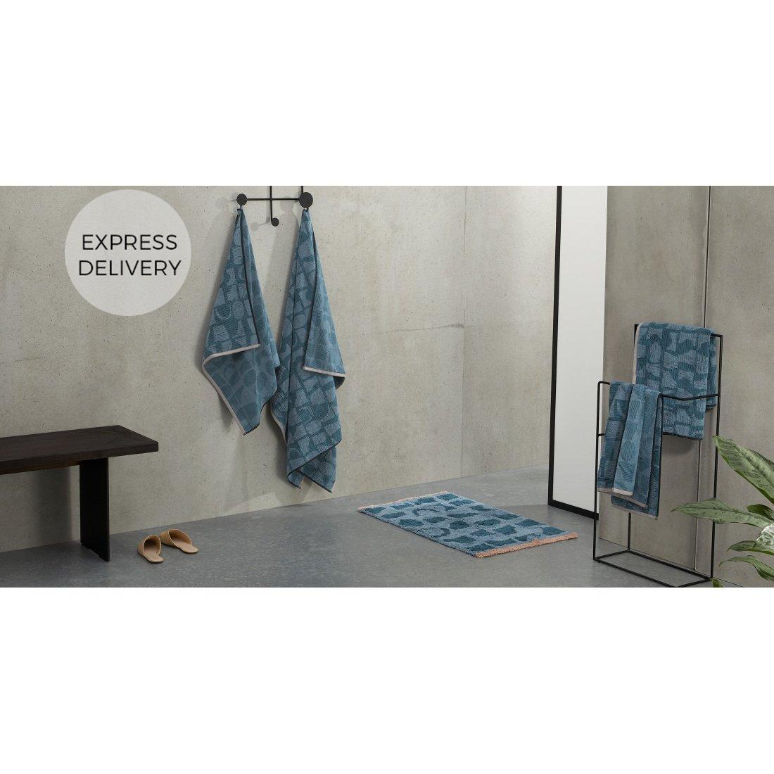 image-Olga 100% Cotton Set of 2 Hand Towels, Aegean Blue