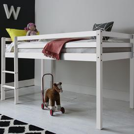 image-Cabin Bed Finn Straight Ladder Midsleeper in White Frame Colour: White