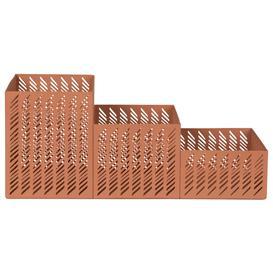 image-Desk organiser in terracotta cut-out metal