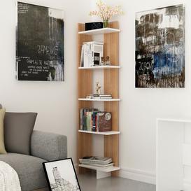 image-Lynnfield Corner Bookcase Zipcode Design Colour: White/Teak, Size: 170.18cm H x 45.72cm W x 22.86cm D