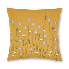 image-Scandi Floral Cushion Ochre